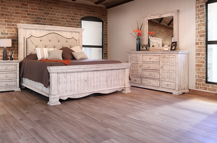 furniture store with white wood bedroom furniture, dining furniture, wood bookcases, kitchen islands - Oak Factory Outlet   Nashville, TN