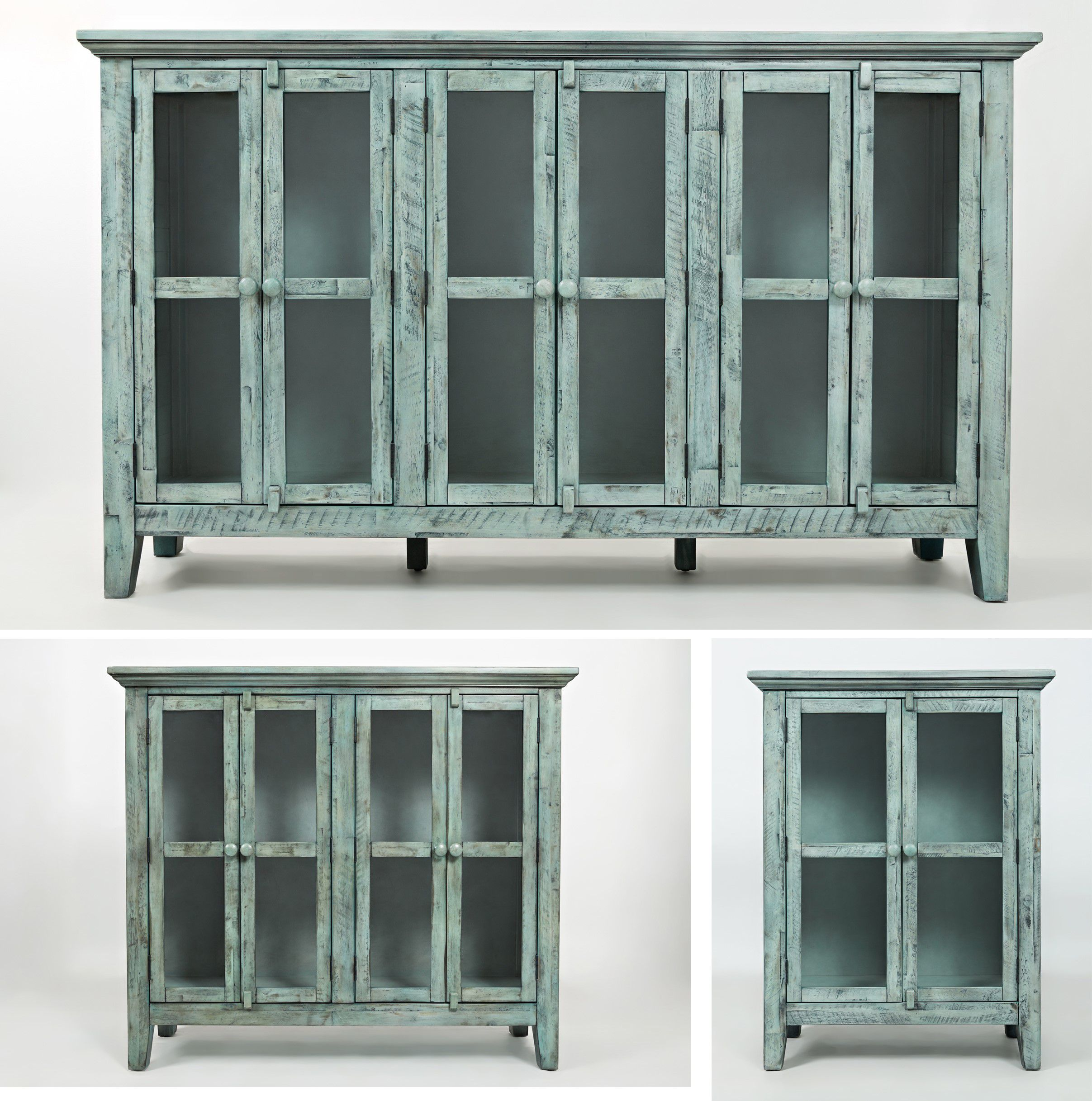 A blue console at Oak Factory Outlet Furniture Store in Nashville, TN, from bedroom furniture to dining furniture, we have it all!